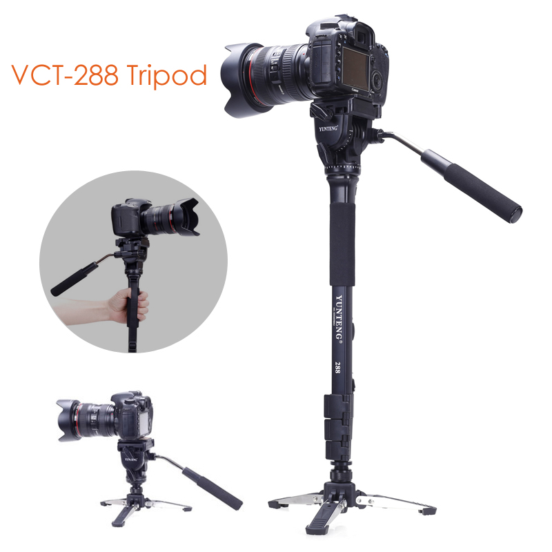Yunteng 288 Camera Monopod + Fluid Pan Head + Unipod Holder For Canon Nikon DSLR ulanzi vct 288 58in photography tripod monopod unipod with fluid pan head quick release plate for iphone canon nikon dslr camera