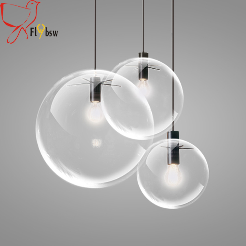 Modern brief Glass Ball pendant Lamp,dia 15/20/25/30cm clear glass Hanging Lamp Suspension for Dining Room Bar Restaurant lamp цена