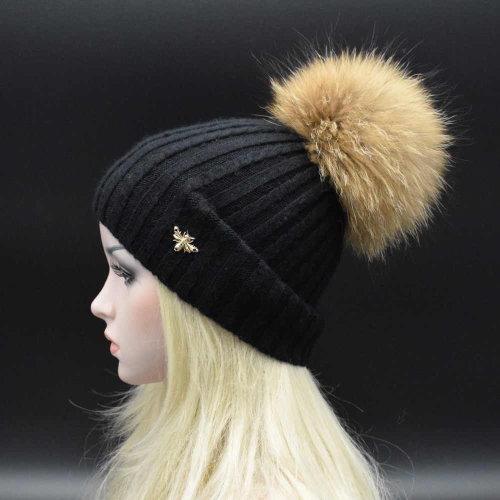 Free shipping winter beanies hat thick knitted wool Skullies casual cap with real raccoon fox fur pompom Women gorros caps autumn winter beanie fur hat knitted wool cap with raccoon fur pompom skullies caps ladies knit winter hats for women beanies