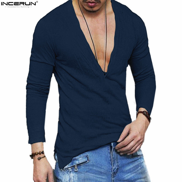 Sexy Deep V Neck Men T Shirt Long Sleeve Slim Fit Muscle Tops Pure Color  Casual Men Shirts Spring Fashion Trends Spring f88f58be4