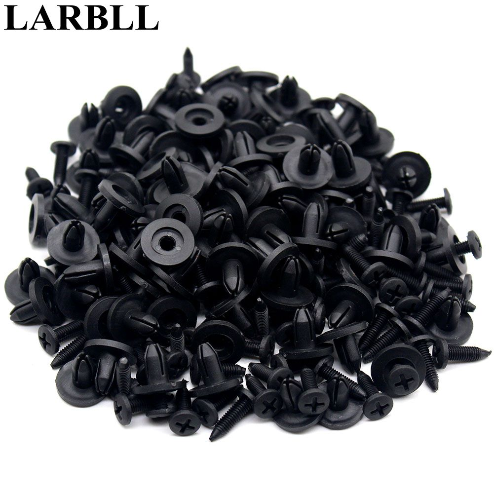LARBLL 100PCS /Set 6mm Car Auto Bumper Cover Diversion Fenders Plastic Screw Rivet Fastener Clips for Honda Civic Accord Jazz