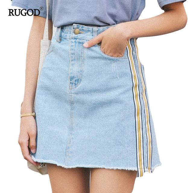 3f0c511b3abea4 € 17.16  RUGOD 2019 été minijupe taille haute Jupe Denim jupes côté  ceintures femme grande taille décontracté Jupe crayon poches moulante a ...