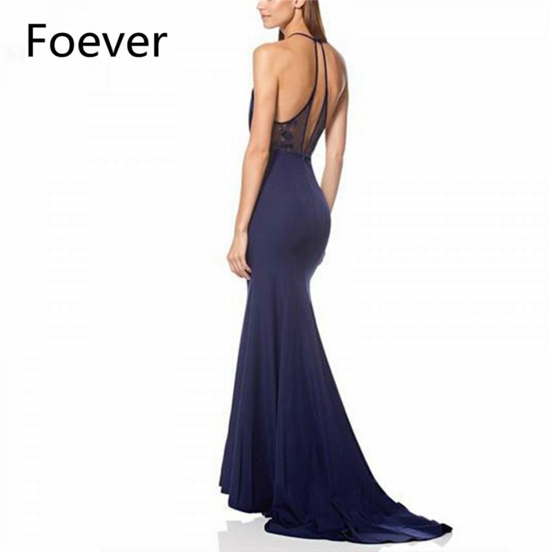 2019 Halter Mermaid Evening Dresses Long Sweep Train Elastic Satin Black Formal Evening Party Dress for Women