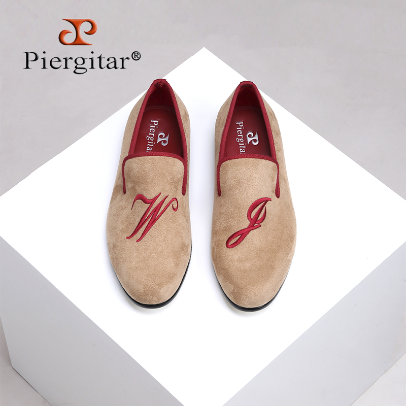 Piergitar 2018 New style men suede shoes with custom personality letters embroidered Wedding and Banquet men's loafers big sizes