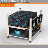BX36 Coin Open Air Mining Miner Frame Rig Graphics Case 6 GPU BTC ETH 6 Fans For Mining Machine Frame