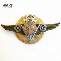Steampunk Gothic Punk Rock The Deathly Hallows Wings Watch Parts Gears Brooch Pins Badge Men Women