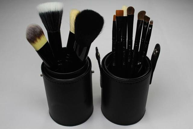 Drop shipping New black Professional Makeup Brush Set 12 pcs Kit w/ Leather Cup Holder Case kit