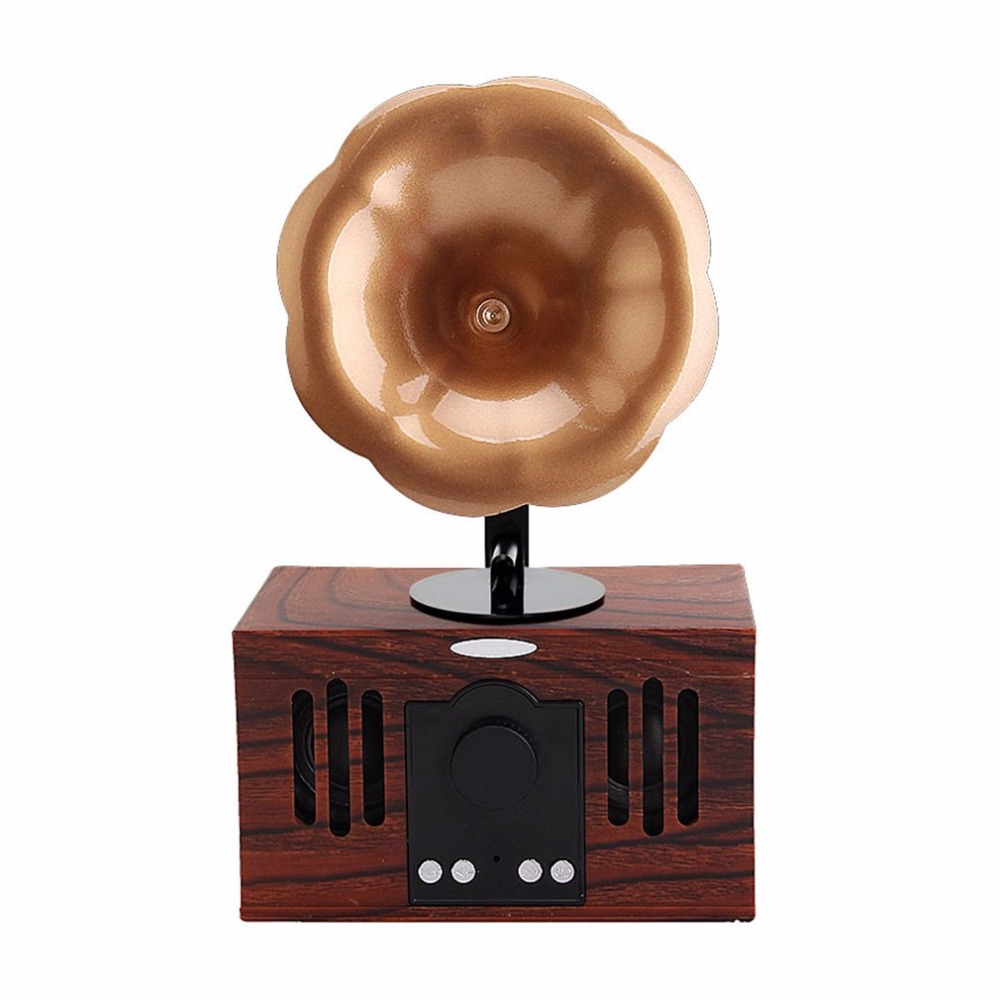 Fashionable Design Vintage Wireless Bluetooth Tabletop Speaker Classic Handsfree AUX Input TF Card Music Player Speaker