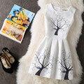 2017 Новые моды для женщин лето dress деревья и птицы распечатать цветочные рукавов плюс размер сексуальные старинные festa party dress vestidos