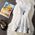 2017 New fashion women summer dress trees and birds print floral sleeveless plus size sexy vintage festa party dress vestidos