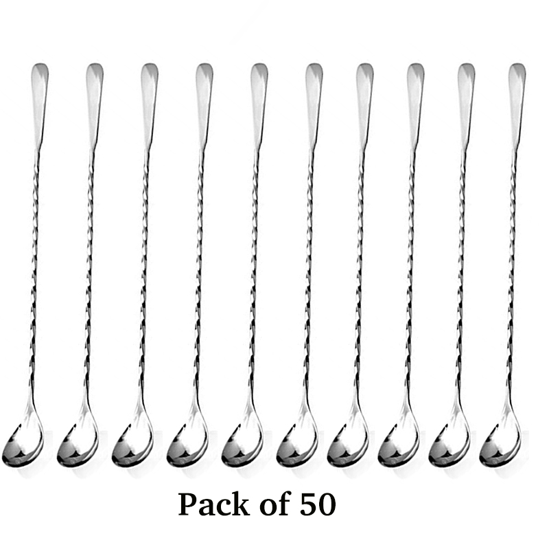 Free Shipping 50PCS Cocktail Bar Spoon Hoffman Silver Bartender Professional Cocktail
