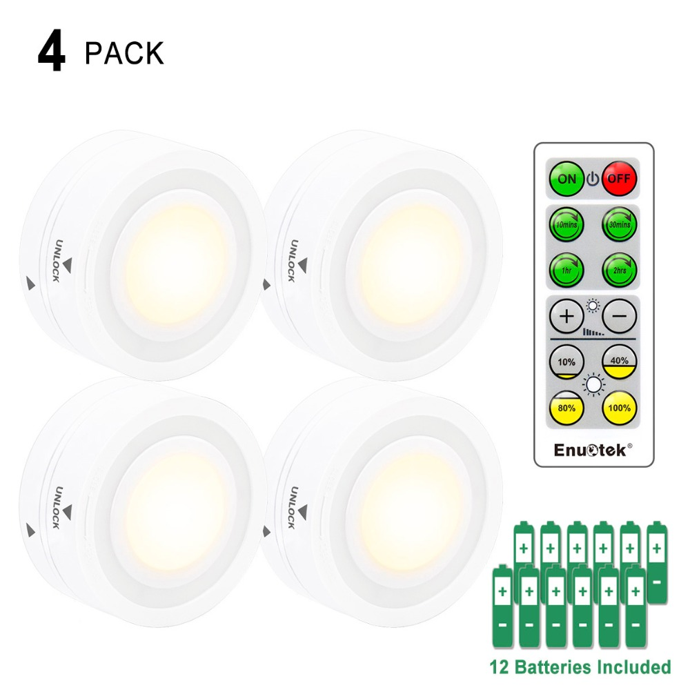 Wireless Remote Control LED Puck Night Lights LED Cabinet Lamps with Dimmable and Timer Functions