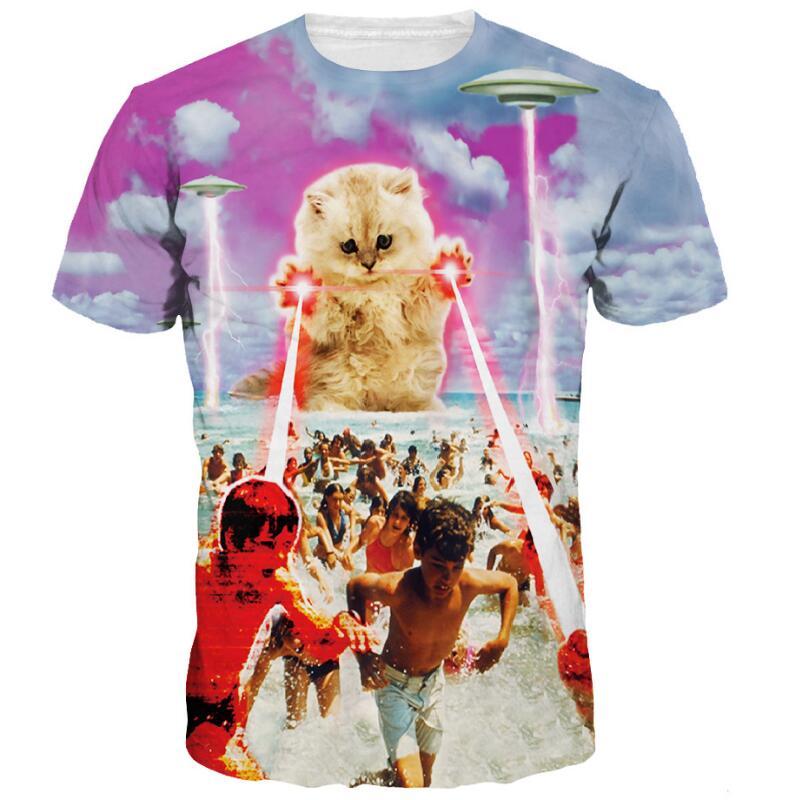 Cloudstyle 3D Camiseta Hombre Ropa 2019 3D Terror láser gato UFO 3D camisetas divertidas Camisetas manga corta Streetwear verano Surwish ensamblado mundo arquitectónico 3D papel modelo de construcción de Casa Kit Torre Spasskaya/tienda de souvenirs griego
