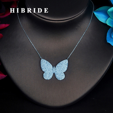 HIBRIDE роскошное ожерелье с кубическим цирконием и бабочкой для женщин и девочек, ожерелье с кулоном, цепочка на свитер, аксессуары для платья, ювелирные изделия, подарки N-390