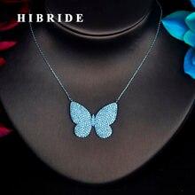 Женское Ожерелье с кулоном бабочкой из фианита hibrid кулон
