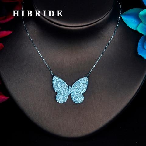 Купить женское ожерелье с кулоном бабочкой из фианита hibrid кулон