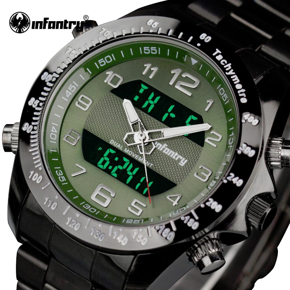 Prix pour INFANTRY Hommes Sport Montres En Acier Plein LED Affichage Montres Célèbre Marque De Luxe Alarme Lumineuse Horloge Relogios Masculinos