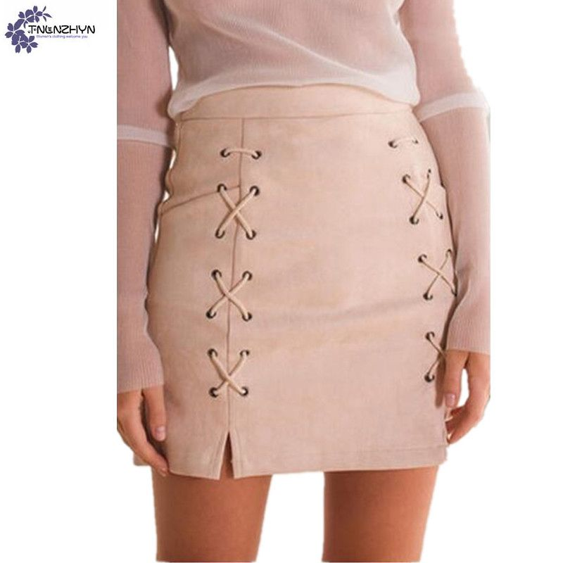 TNLNZHYN Women clothing Faux suede Half body font b skirt b font 2017 summer club new