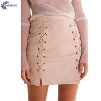 TNLNZHYN Women Clothing Faux Suede Half Body Skirt 2017 Summer Club New Fashion Big Size Sexy