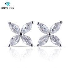 DovEggs 14K 화이트 골드 마키 스 컷 2*4mm F 컬러 Moissanite 다이아몬드 스터드 귀걸이 여성을위한 꽃 모양 스크류 백 귀걸이