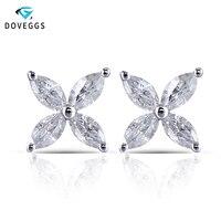DovEggs 14K White Gold Marquise Cut 2*4mm F Color Moissanite Diamond Stud Earrings For Women Flower Shape Screw Back Earring