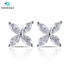 DovEggs pendientes de diamante con forma de flor para mujer, aretes pequeños, oro blanco, MARQUESA, 14K, 2x4mm, Color F