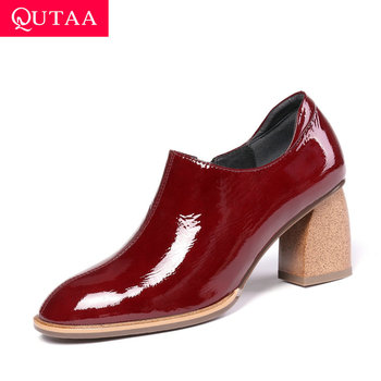 QUTAA 2020 Zipper Fashion Wood Grain Thick Heel Women Pumps Genuine Leather Round Toe Casual Comfort Single Shoes Size 34-42