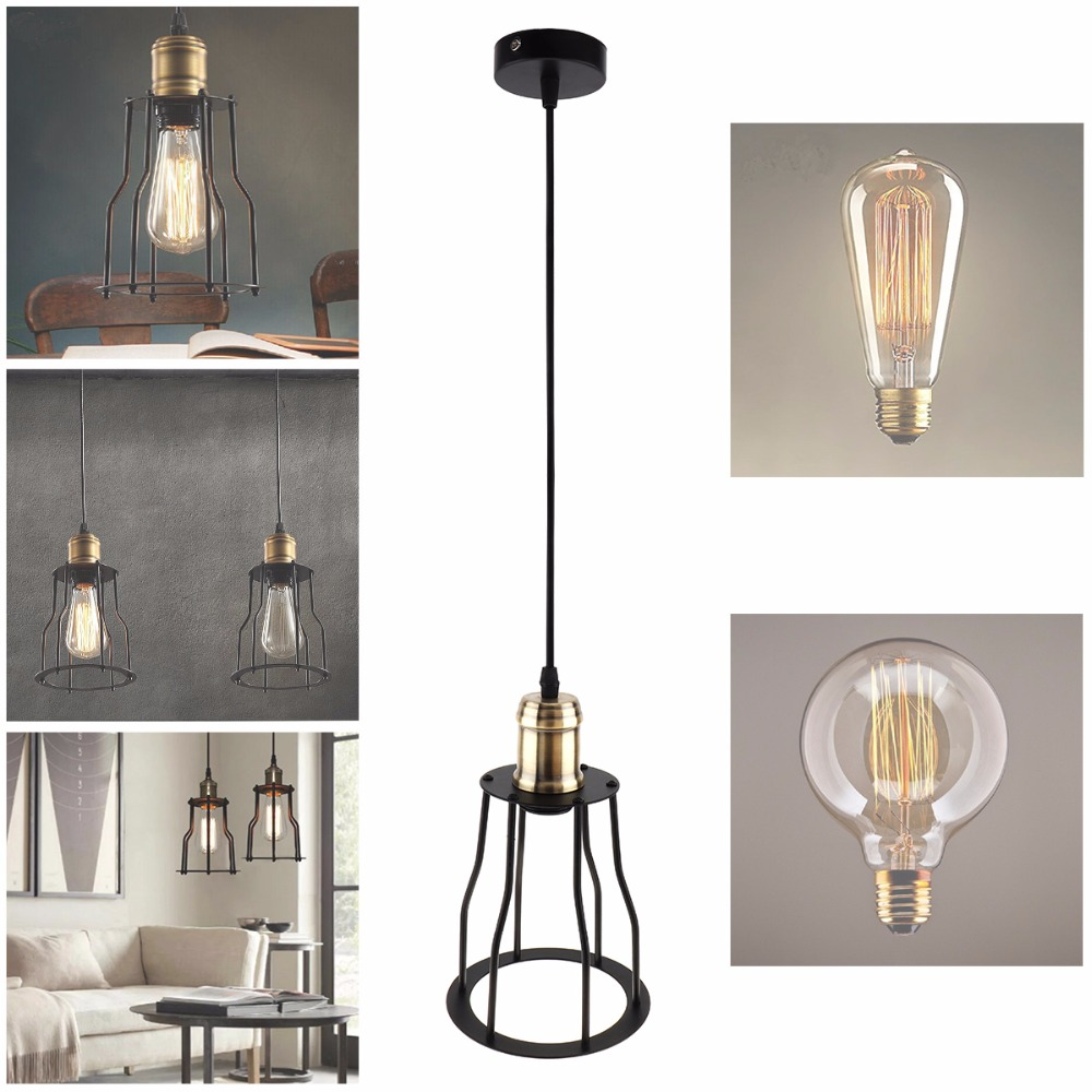 New Vintage Industrial Iron Lamp Socket Retro Droplight Holder Ceiling Pendant Lamp Cage for Room Light Decoration 10pcs wholesale price d80mmxh300mm black iron long cage industrial pendant lamp vintage brass socket lighting fixtures for home