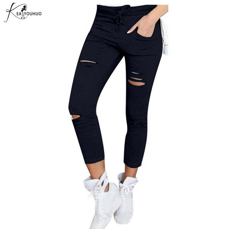 Summer High Waist Pants Denim Pants Holes Destroyed Knee Pencil Pants Casual Hot Black Pants Stretch Ripped Jeans Pantalon Femme