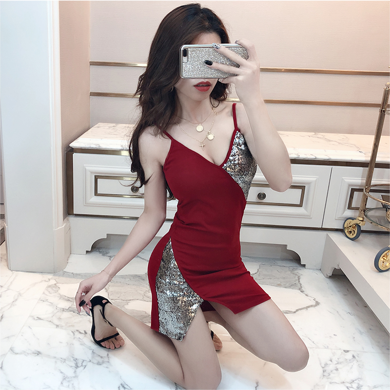 2019 new fashion <font><b>sexy</b></font> stitching sequins v-neck waist slim strap <font><b>dress</b></font> image