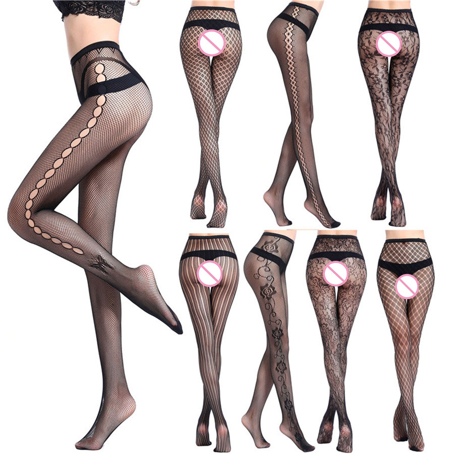 New Style Womens Sexy Fishnet Tights Tattoos Jacquard Weave Pantyhose Sexy Garter net Stockings Hose Sexy Lingerie Collant