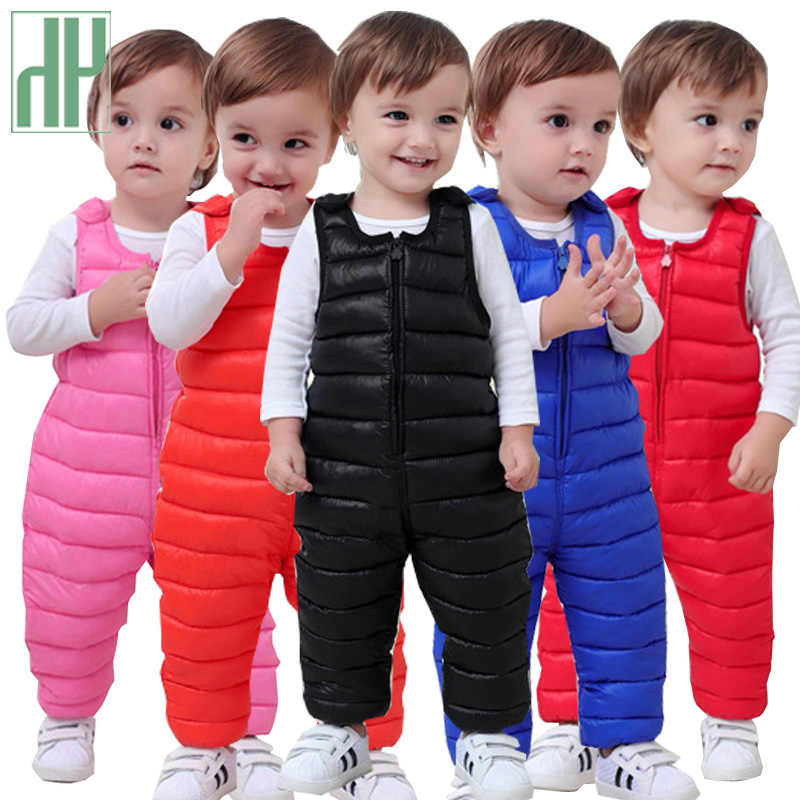 Winter children down cotton bib pants for kids overalls toddler boys pants warm baby girls pants waterproof trousers 1 5 years