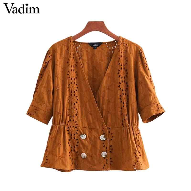 Vadim women floral embroidery V neck blouse buttons hollow out puff sleeve vintage female casual shirts chic tops blusas DA272
