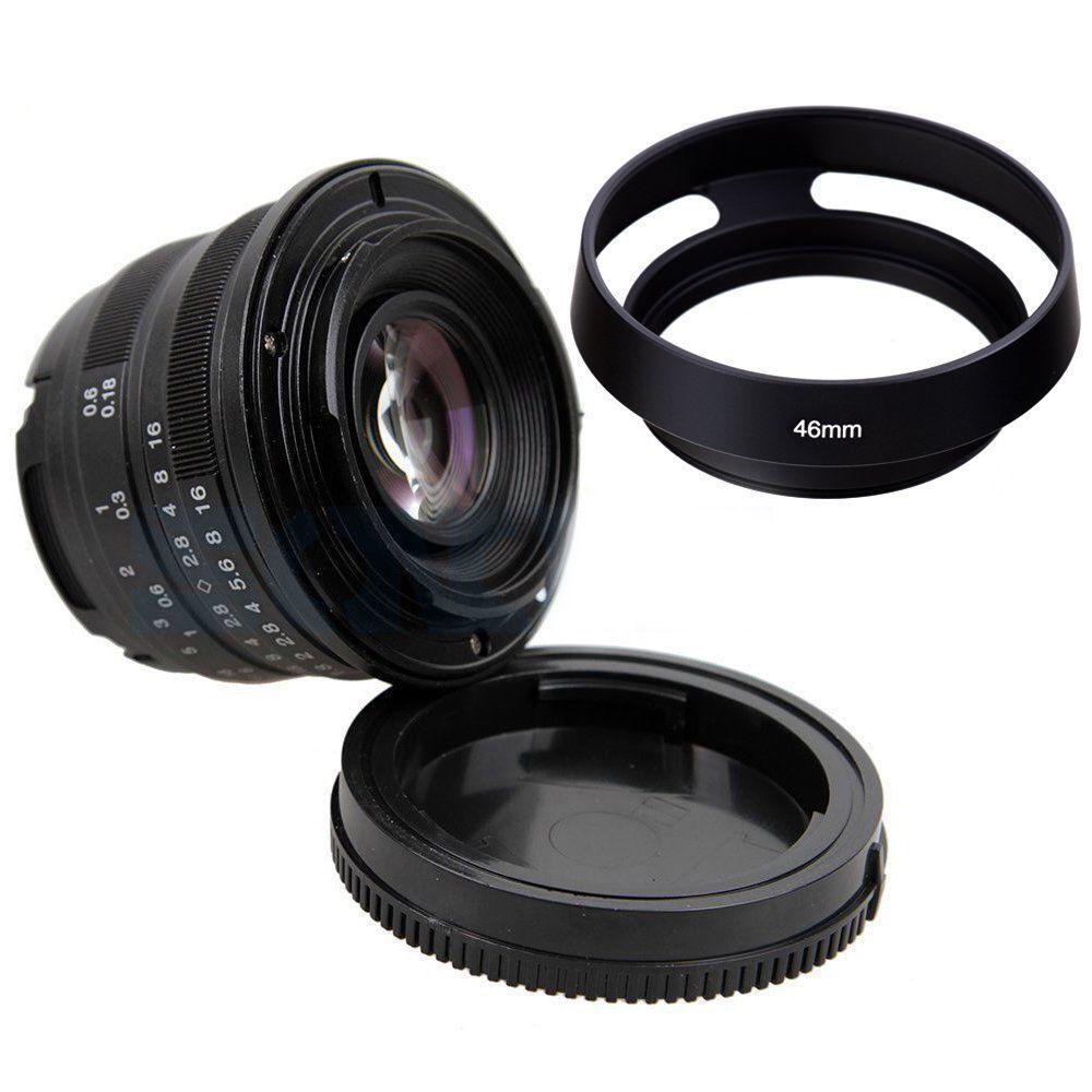 Black/Sliver 25mm F/1.8 HD MC Manual Focus Lens+ 46mm Metal lens hood for Fuji X-E2 X-E1 X-Pro1 X-M1 X-A2 X-A1 X-T1 X-PRO2 X-T10 black sliver 25mm f 1 8 hd mc wide angle manual focus lens for fujifilm fx camera x t10 x t2 x pro2 x pro1 x e2 x e1 x m1 x a3