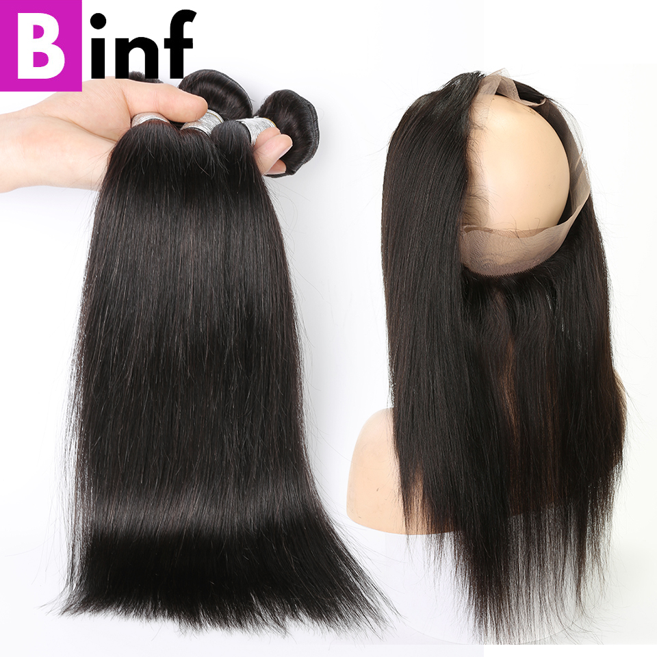 BINF Indian Straight Hair 100 Human Hair Weave Bundles Remy Hair 3 Bundles With 360 Lace