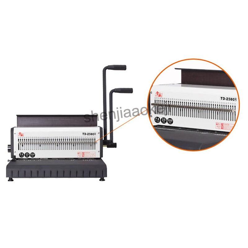 A4 Machine à relier fil de papier TD 2500R (rond) machine à relier anneau de fer calendrier de bureau machine à poinçonner manuelle 300 feuilles reliure - 3