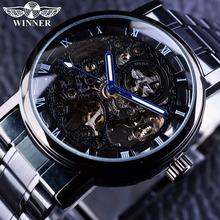 Zwycięzca przezroczysty Steampunk Montre Homme czarny Retro Casual męskie zegarki Top marka luksusowy pełny stalowy szkielet mechaniczny zegarek tanie tanio T-WINNER Nie wodoodporne Moda casual Mechaniczna Ręka Wiatr Klamra 24cm Ze stali nierdzewnej 14mm Brak PMW269 Szkło