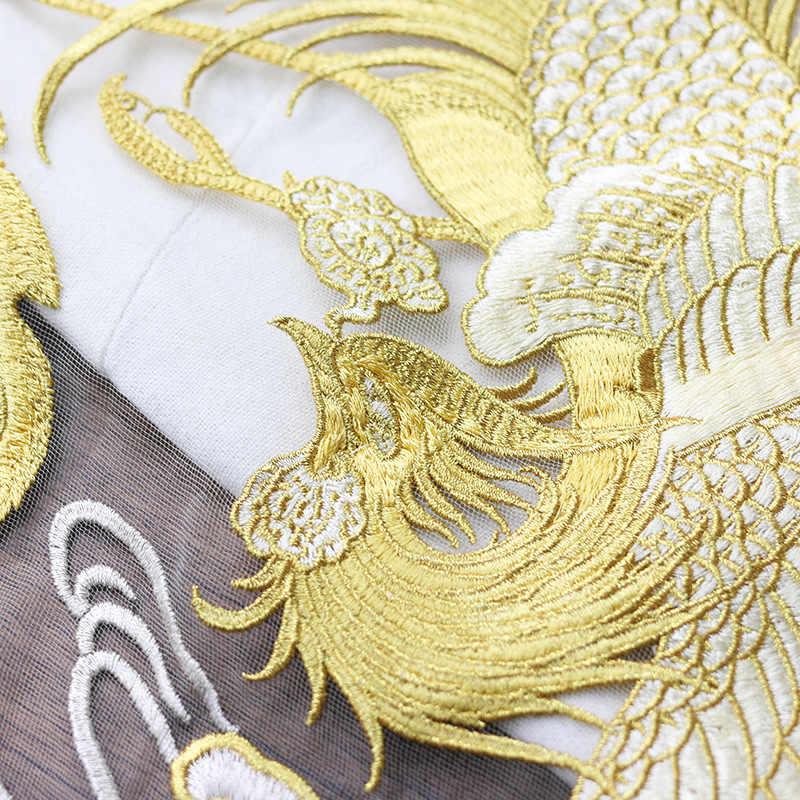 Línea dorada Phoenix redondo para traje parche para disfraz decoración nacional apliques malla encaje artesanal costura a mano pegatinas de tela
