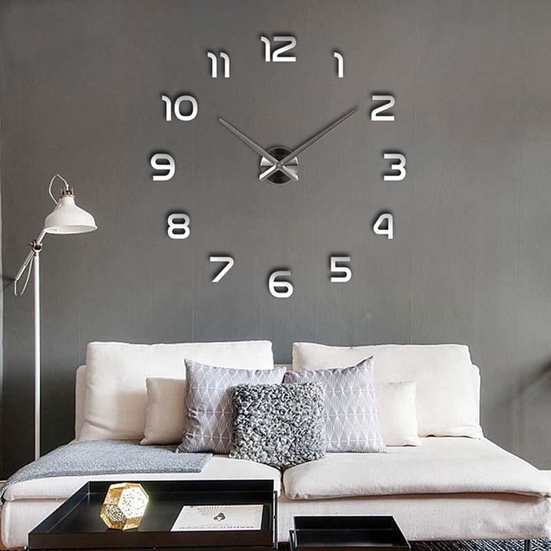 Modern Wall Sticker Diy Large Wall Clock 3d Mirror Surface Sticker