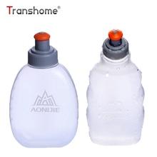 Transhome Mani sporta pudeles pārnēsājamie plastmasas caurspīdīga zīmoga speciālie dzērieni āra sporta velosipēdu skriešanas ūdens pudelēm