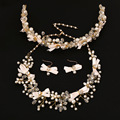 Wedding Bridal for Brides pearl flower the bride hair accessory tiara necklace earrings accessories piece wedding set