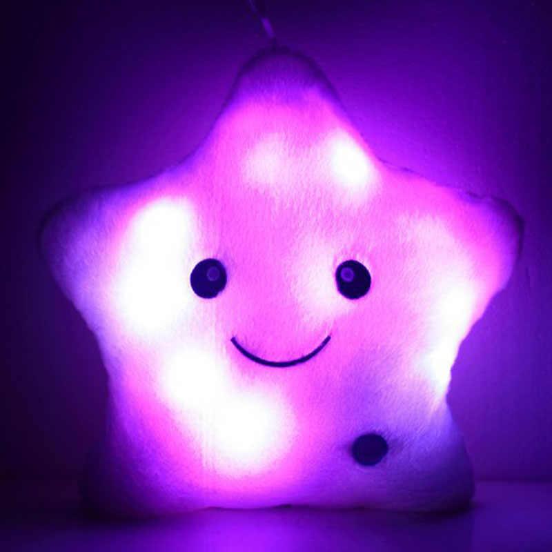 5 цветов на выбор светящаяся Подушка звезда хлопок подушка красочная светящаяся плюшевая кукла-подушка светодиодные игрушки подарок для детей спящая