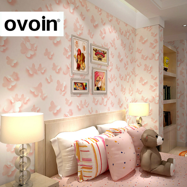 Girls Bedroom Wallpaper Pink Neutral Bedroom Colors For Kids Bedroom Layout Ideas Bedroom Cupboards For Small Rooms: Modern Child 3D Butterfly Wallpaper Roll For Walls Girls