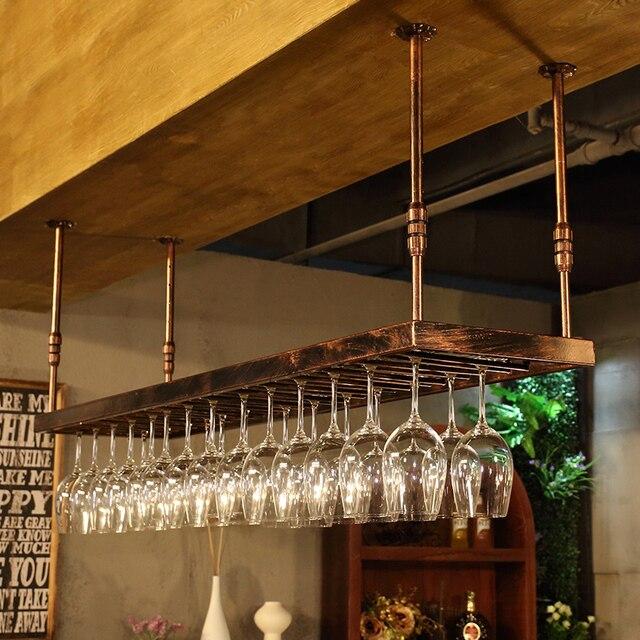 60-100cm Wrought iron wine rack wine glass rack wall hanging cup holder Bar Under Cabinet Display Hanging Shelf Stemware
