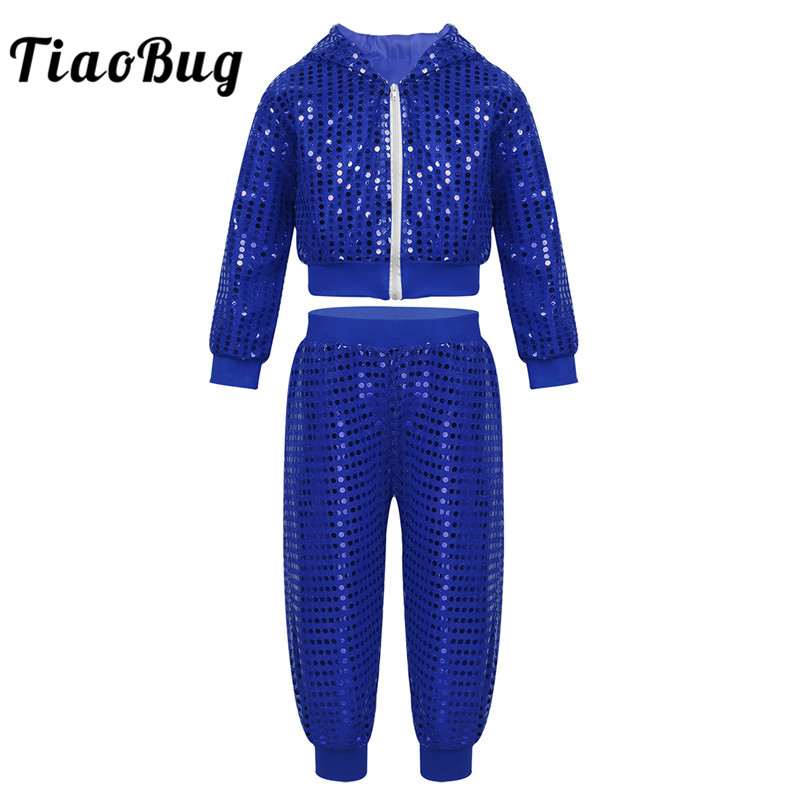 TiaoBug Unisex Kids Teens Shiny Sequins Hooded Top with Pants Hip-hop Stage Jazz Dance Costume Set Boys Girls Street Dancing Set