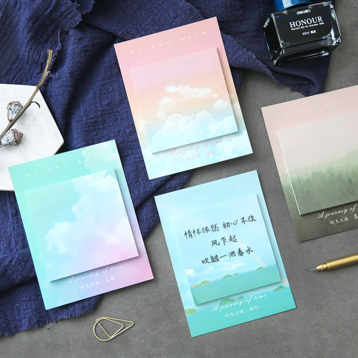 1 Sets Memo Pads Sticky Notes Kawaii Colorful Cloud Paper Notepad Daily Scrapbooking Stickers Office School Stationery Bookmark