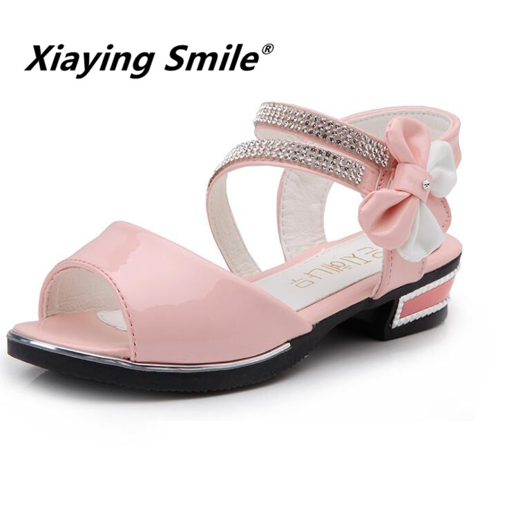 Girls Sandals Children Shoes Little Princess Summer Kid Flats Bowtie Fashion Casual Hook And Loop Rubber Sole Shoes summer style children sandals girls princess flower shoes kids flat sandals tide sneakers