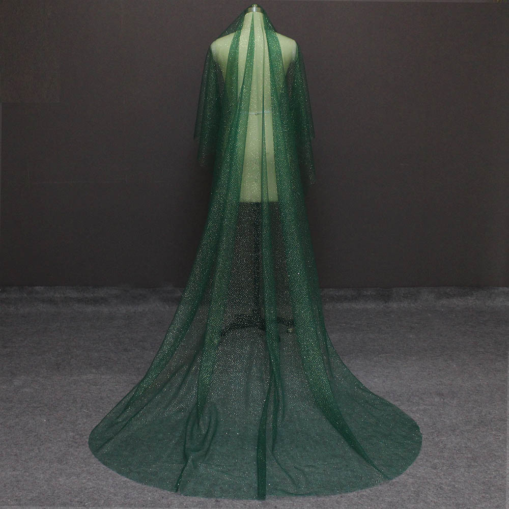 Shining Long Green Wedding Veil With Gold Dust Glitters One Layer 3 Meters Cathedral Bridal Veil WITHOUT Comb Voile Mariage