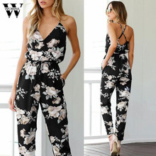 CharmDemon New Arrival Women Backless Jumpsuit Sleeveless V-Neck Floral Printed Playsuit Party Trousers au17