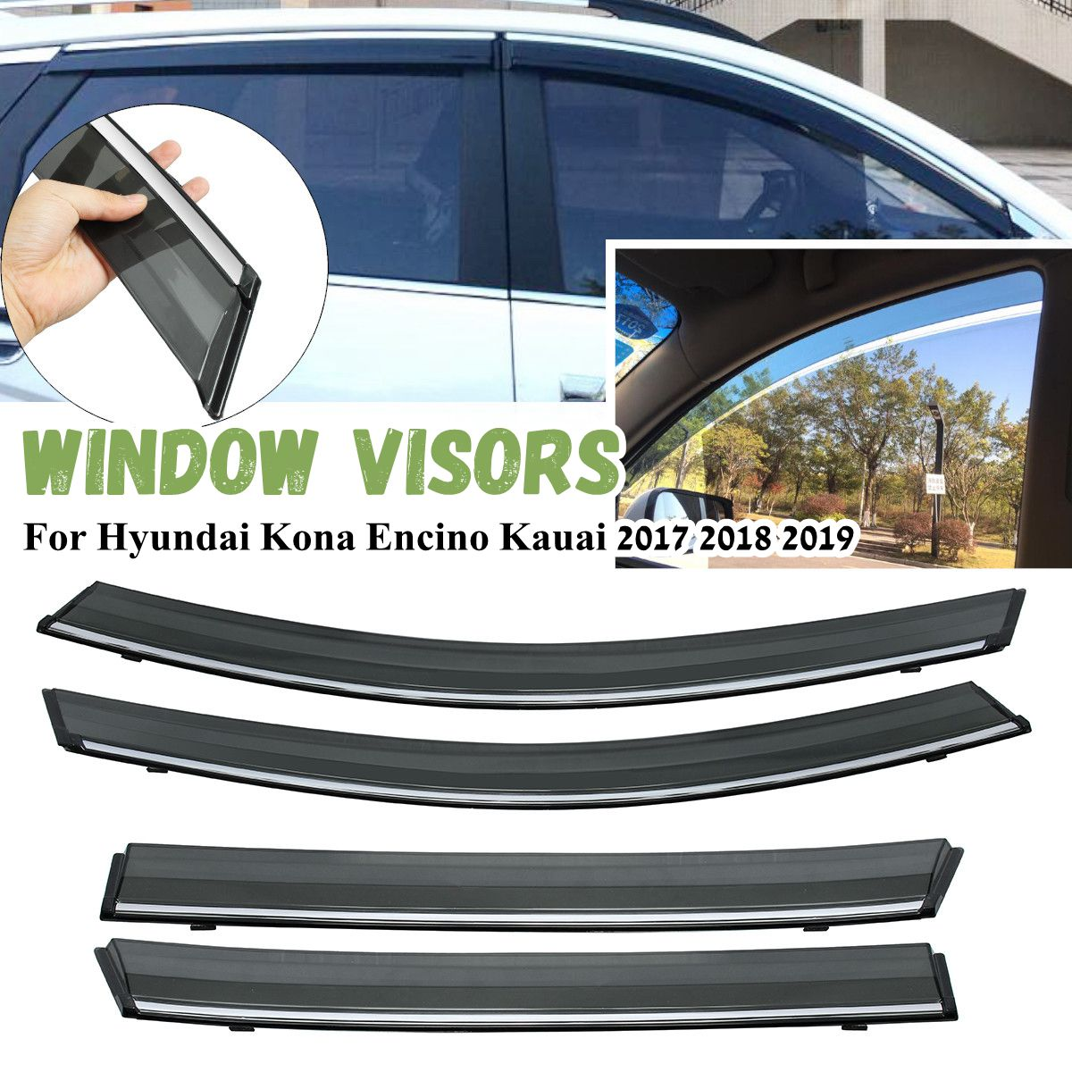 Window Visor Awnings For Hyundai Kona Encino Kauai 2017 2018 2019 Sun Rain Guard Deflector Car
